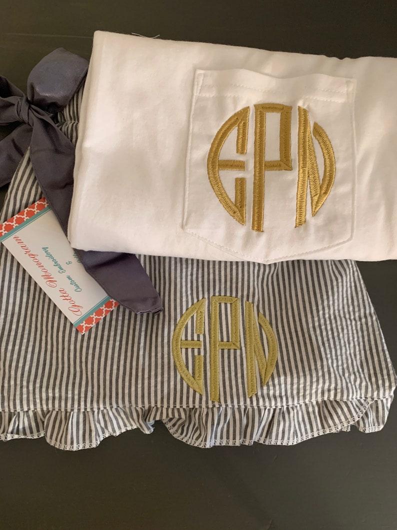 Monogrammed Pajama Set Monogrammed Seersucker Pajama Set Monogrammed Bridesmaid Gift