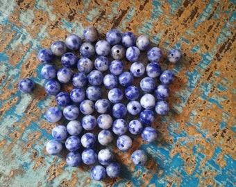 6mm Blue Spot Round Beads, Blue Spot Beads, Full Strand Blue Spot Beads