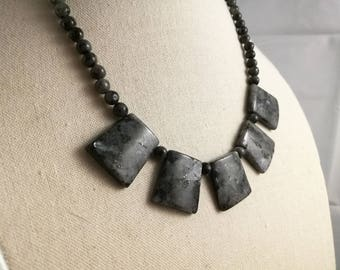 Grey stone necklace, Beaded Necklace, Fan Necklace.