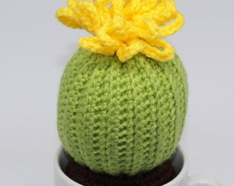 Crocheted Cactus with yellow blossom in a cup