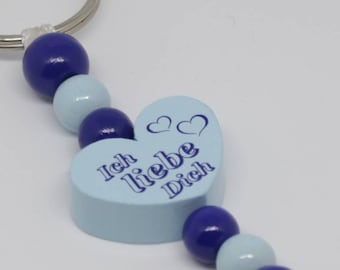 "Key Ring ""I love You"" blue"