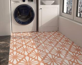 Vienna Pattern Tile Stickers, Orange Tiles Stickers for Floor Wall Backsplash, Waterproof, Peel and Stick, PACK of 10, SKU:VINN