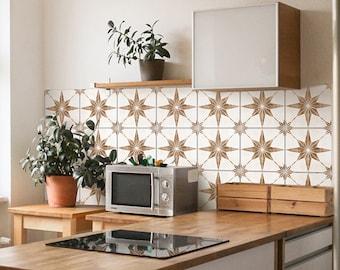 Brown Astra Tiles Backsplash Decals - Kitchen Wall Decor - Crédence adhésive - Backsplash Peel and Stick in Roll - SKU:RT48
