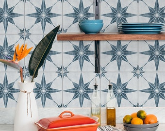 Blue Gray Astra Tile Sticker, Suitable for Wall and Floor, Waterproof, Tile Sticker, Decal, Pack of 10, SKU:STOB