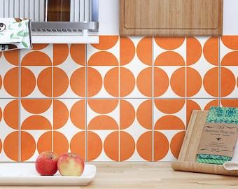 Orange Modern Circles Backsplash Decals - Waterproof - Crédence adhésive - Kitchen Backsplash Peel and Stick in Roll - SKU:RT52