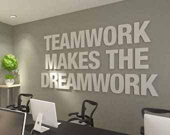 art for office walls masculine teamwork makes the dreamwork 3d office wall art typography decor quotes inspirational and motivational art skutwdw service stays forever business quotes art etsy