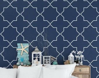 69b28336eff5 Coastal wallpaper , geometric blue white nautical removable self adhesive -  SKU:MBCP