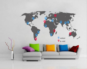 World map outlines wall decal continents decal large world map with pins large world map vinyl wall sticker world map wall sticker gumiabroncs Gallery