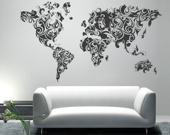 Large World Map Wall Decal World Map Outlines Wall Decal Continents Decal Large | Etsy Large World Map Wall Decal