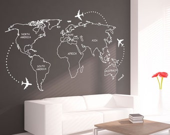 Copper world map wall decal copper office decor office etsy world map outlines wall decal continents decal large world map vinyl world map wall sticker skuwomaouwi gumiabroncs Image collections