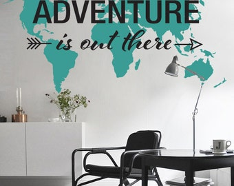 7 x 4 ft world map decal large world map vinyl wall adventure is out there world map decal large world map vinyl wall sticker world map wall sticker gumiabroncs Gallery