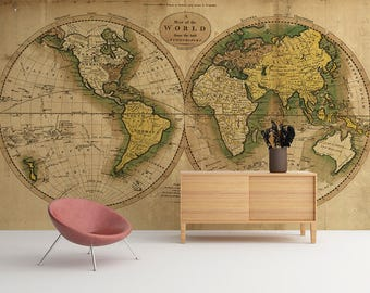 World map wallpaper etsy vintage map of the world world map wallpaper wall mural world map wall art adhesive fabric peel and stick skuvmw gumiabroncs Images