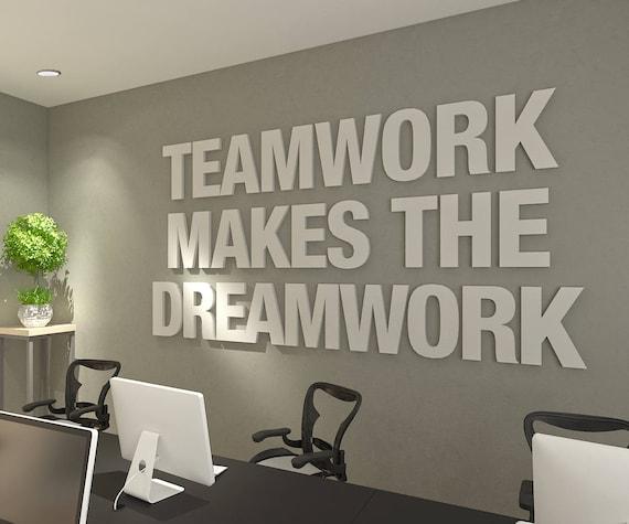 Teamwork Makes The Dreamwork 3d Office Buro Dekoration Etsy