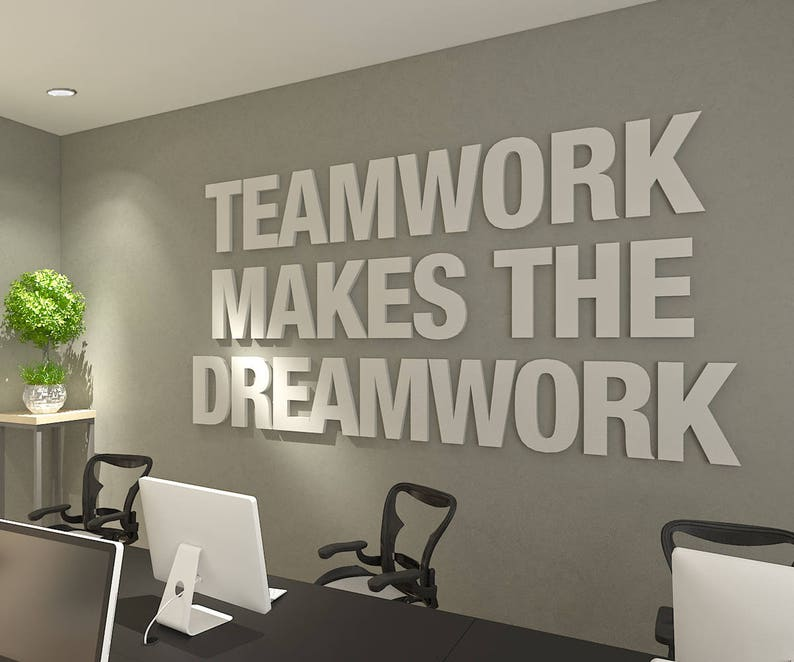 Teamwork Makes The Dreamwork 3d Office Wall Art Typography Decor Office Quotes Inspirational And Motivational Art Office Sku Twdw