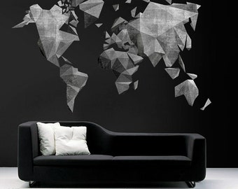 World map outlines wall decal continents decal large world map cement effect wall decal large world map vinyl wall sticker world map wall sticker skumapcement gumiabroncs Image collections