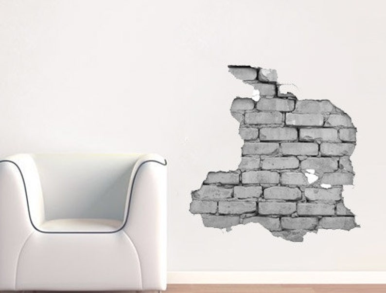 effect brick wall sticker broken wall effect sticker | etsy