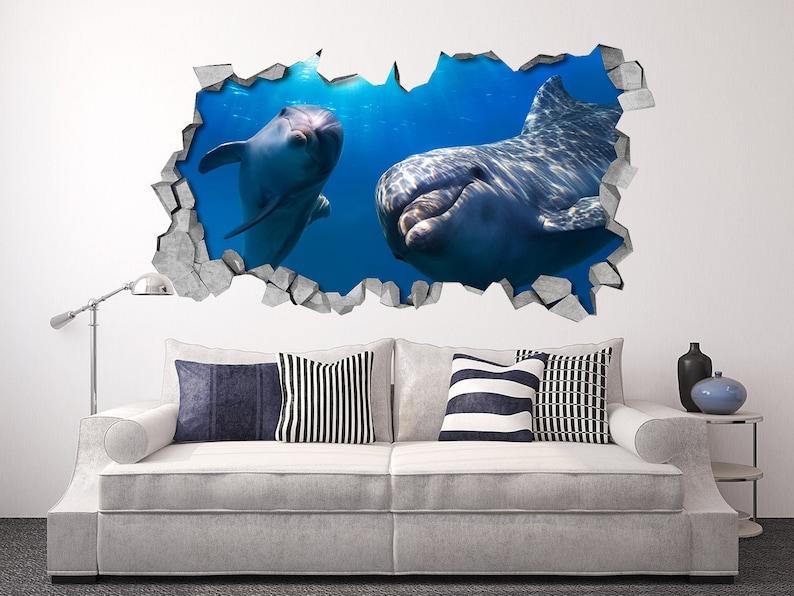 3d Stickers Muur.Dolfijnen 3d Wallpaper Muursticker 3d Muur Stickers Etsy