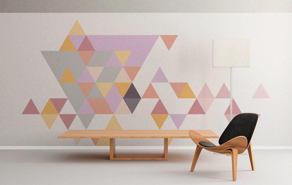 zoom Geometric Mid Century Triangles Pastel Wall
