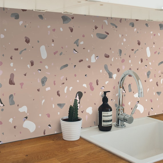 Old Pink Terrazzo Adhesive Film Waterproof Kitchen Backsplash Sku Optaf