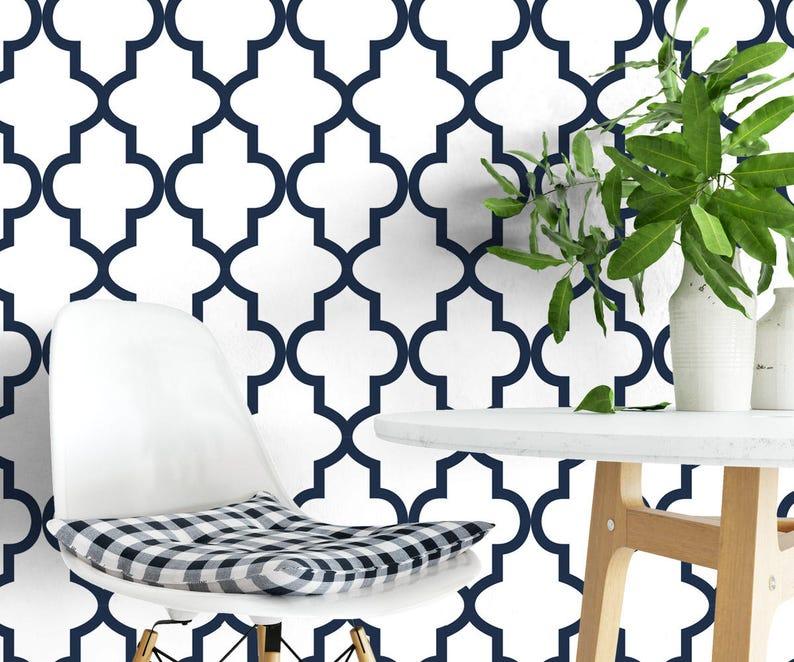 Blue Moroccan Pattern Trellis Wallpaper Removable