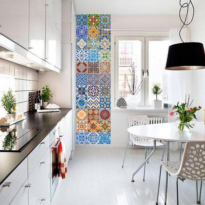 Portugiesische Fliesen Patterns - Fliesenaufkleber – Küche Fliesenaufkleber  - Badezimmer Fliesen Aufkleber - SATZ 48 Fliesen - SKU:AZU