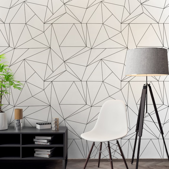 Geometric Polygon Wallpaper Wallpaper Black And White Geometric Patterns Removable Wallpaper Reusable Skupglp