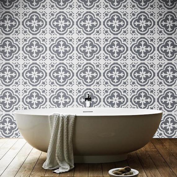 Vinyle De Plancher Carreaux Marocain Vinyle Carrelage Etsy - Carrelage salle de bain et tapis amérindien