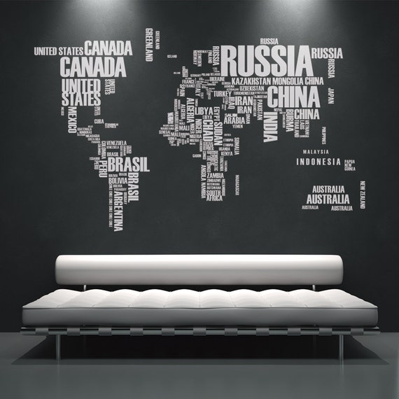 World map wall decals wall stickers country names text gumiabroncs Gallery