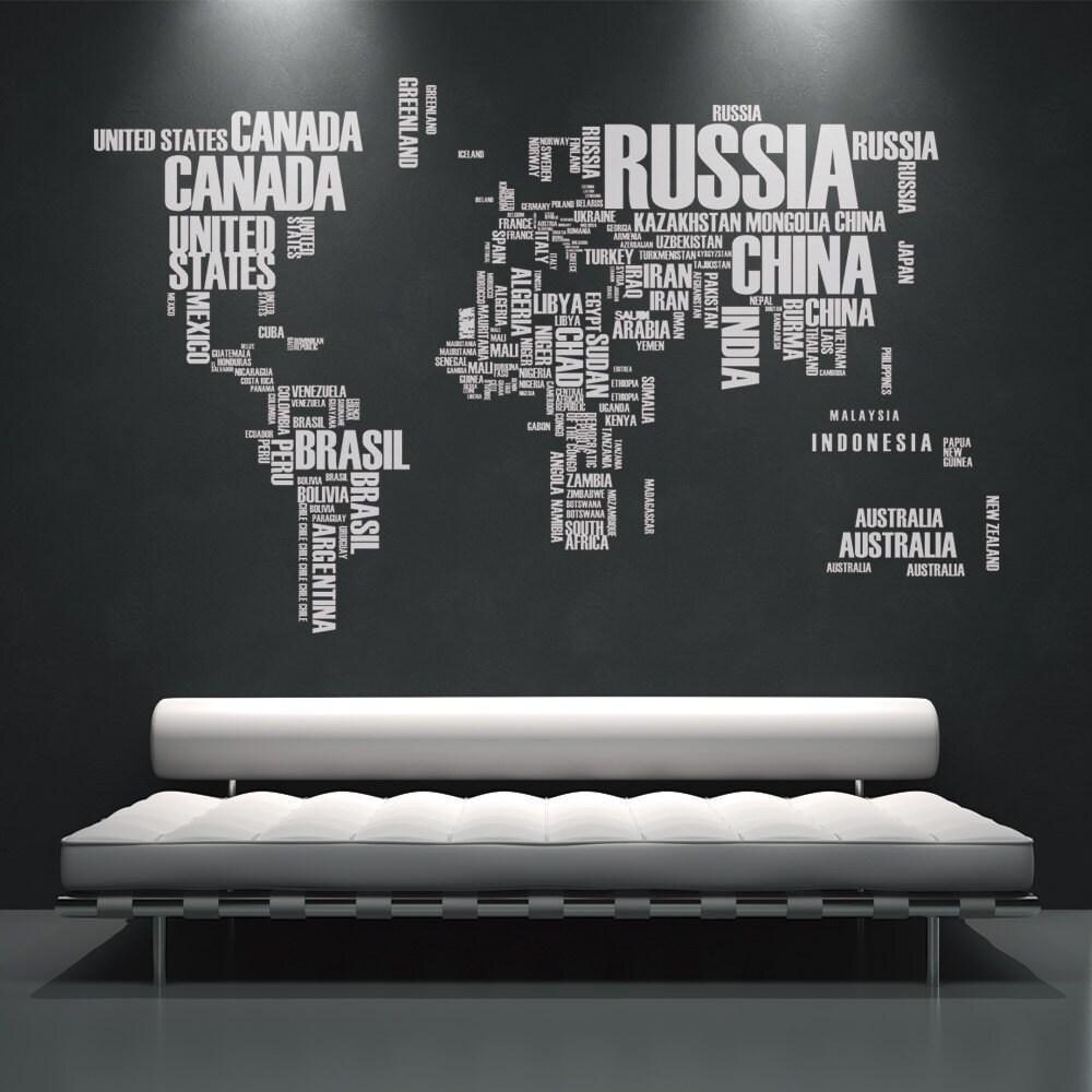 Weltkarte Wandtattoo Wand Aufkleber Land Namen Text