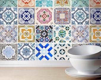 Traditional Spanish Tiles Stickers - Tiles Decals - Tiles for Kitchen Backsplash or Bathroom - Home - Carrelage - PACK of 32 - SKU:SPANTILES