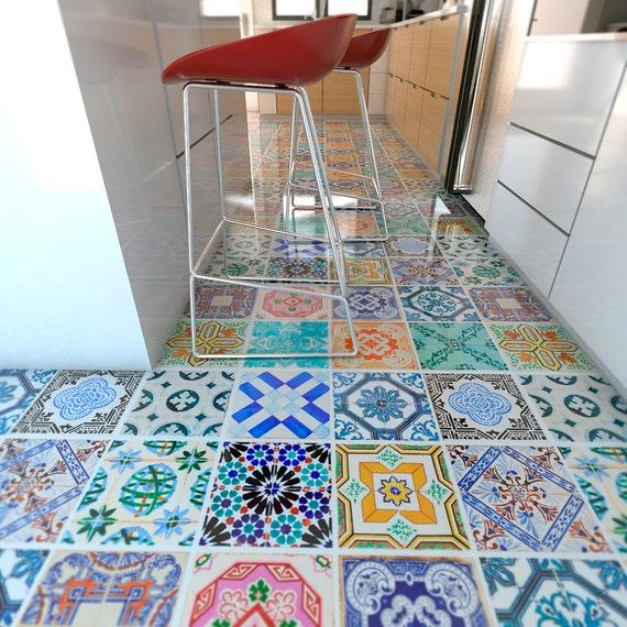Spanish Tiles Flooring Floor Tiles Floor Vinyl Tile Stickers Tile Decals Bathroom Tile Decal Kitchen Tiles 32 Sku Sptifl