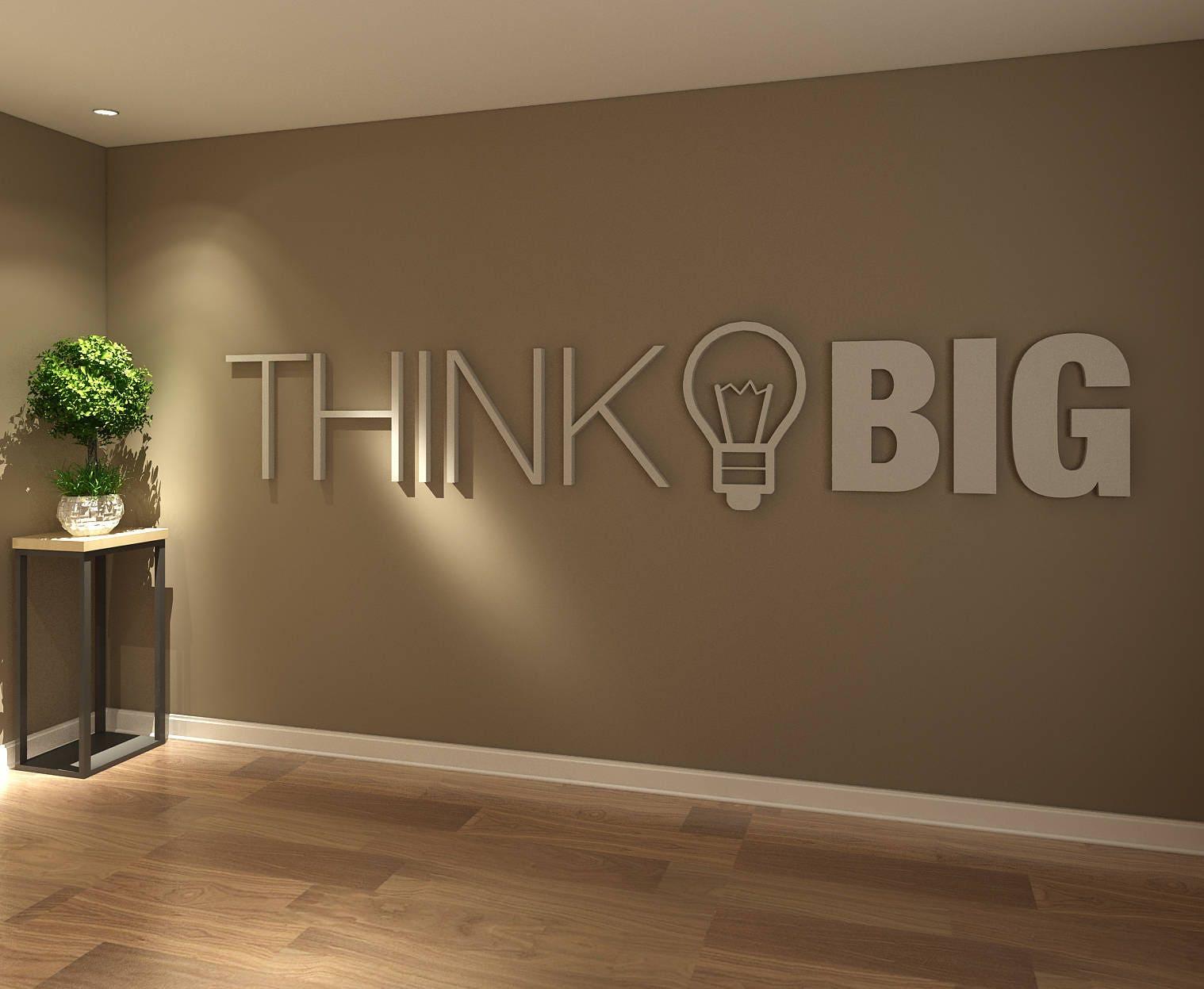 think big office wall art decor 3d pvc typography etsy. Black Bedroom Furniture Sets. Home Design Ideas