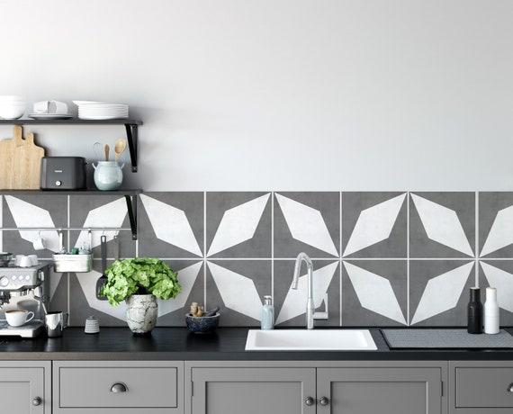 Crédence cuisine vinyle carreaux de ciment - Newcastle - SKU:RT17