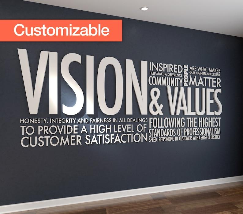 Vision Values 3d Letters Office Wall Art Wall Decal Wall Sticker Hibryd Art Pvc Typography Motivational Decor Sku Vav