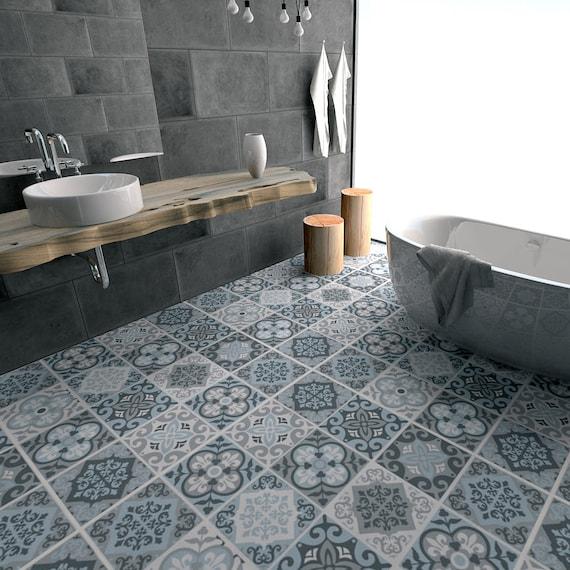 Vintage blauw en grijs Tegels tegel Stickers badkamer | Etsy