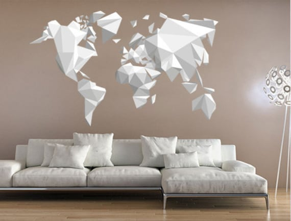 Origami World Map Sticker Origami Decals Origami Stickers Etsy