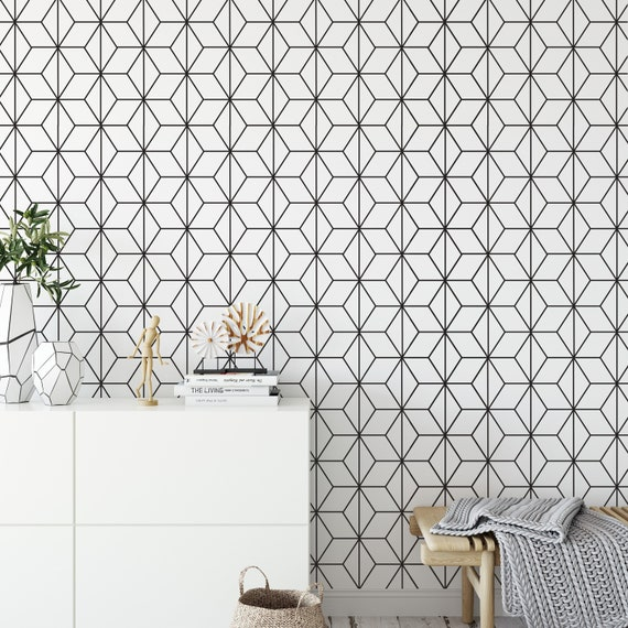 Art Deco Stars Wallpaper Black And White Geometric Patterns Removable Wallpaper Reusable Skuadpp