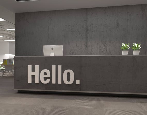 Hello 3d Office Buro Dekoration Dekoration Wall Art Etsy