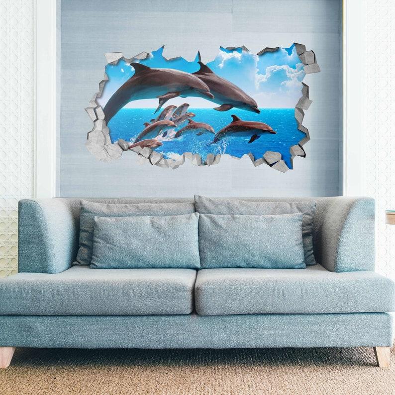 Dolphin Pod Kids Bedroom Wall Sticker 3d Wall Art Wall Decal 3d Wallpaper 3d Wall Decals 3d Printed 3d Art Sku Dolcro3dm