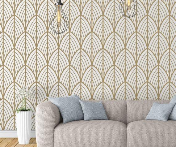 Art Deco Leaves Wallpaper Outlines Mid Century Modern Etsy