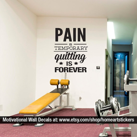 salle de gym wall decal fitness stickers devise etsy. Black Bedroom Furniture Sets. Home Design Ideas