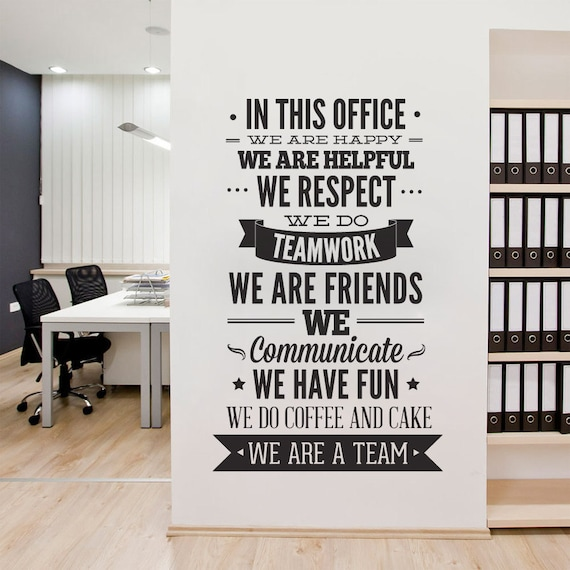 Office Decor Typography Wall Art Sticker In This Office for | Etsy