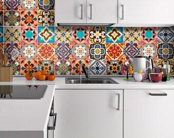 Talavera - Tile Decals - Tile Stickers - Talavera Traditional Tiles - Tiles for Kitchen - Kitchen Backsplash - Home - PACK OF 48 - SKU:TraTa