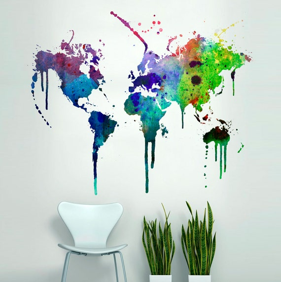 World Map Watercolor Decal Watercolor World Map Wall Sticker Etsy