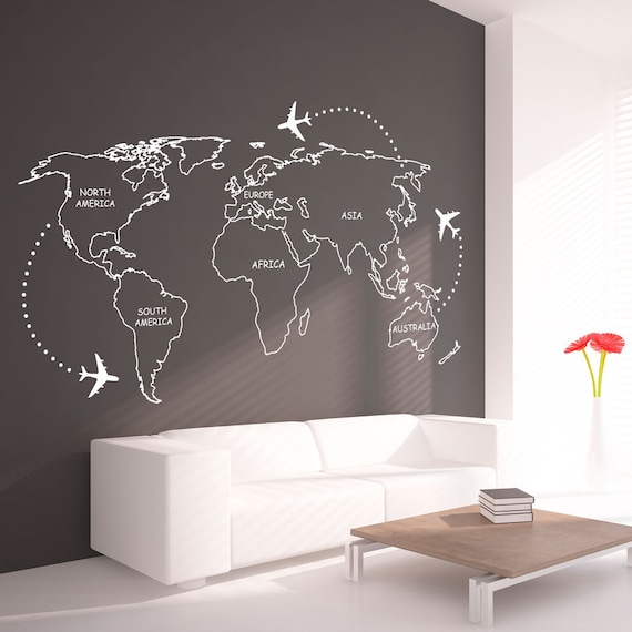 World map outlines wall decal continents decal large etsy image 0 gumiabroncs Choice Image