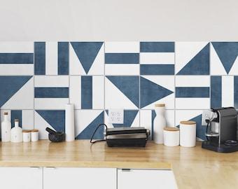Geometric Blue Backsplash Tiles - Kitchen backsplash peel and stick in roll - Crédence adhésive - Wall Decals - SKU:RT42