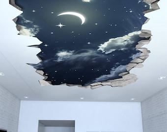 Night Sky 3D Effect Ceiling - 3d Wallpaper - 3d wall decals - 3d printed - 3d wall art - 3d art - Wall Sticker - Wall Decal - SKU: NSC3DW
