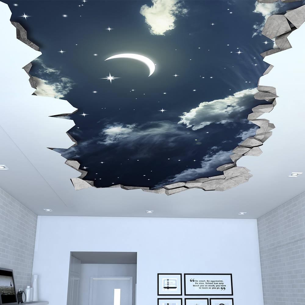 Night Sky 3d Effect Ceiling 3d Wallpaper 3d Wall Decals Etsy