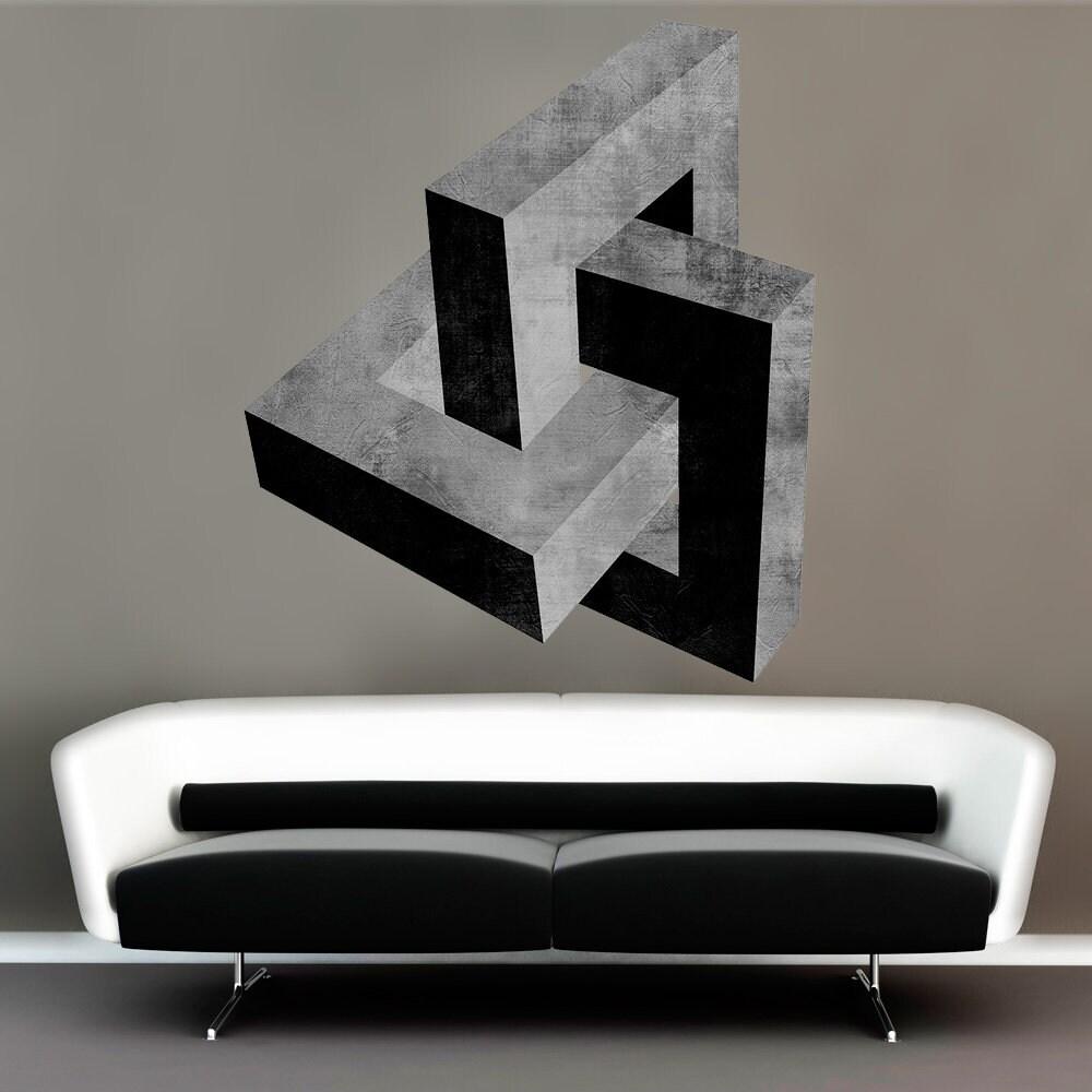 Zement-Effekt Wandkunst Abziehbilder abstrakt Wand-Dekor | Etsy