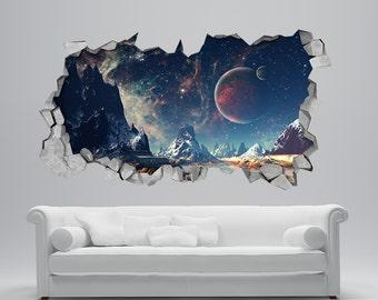 Space Broken Wall Decal - 3d Wallpaper - 3d wall decals - 3d printed - 3d wall art - 3d art - Wall Sticker - Wall Decal - SKU: Alien3DM